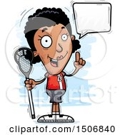 Clipart Of A Talking Black Female Lacrosse Player Royalty Free Vector Illustration by Cory Thoman