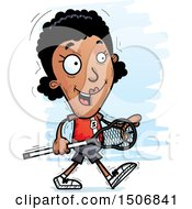 Clipart Of A Walking Black Female Lacrosse Player Royalty Free Vector Illustration