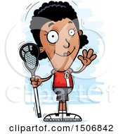 Clipart Of A Waving Black Female Lacrosse Player Royalty Free Vector Illustration