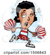 Clipart Of A Tired Black Female Cheeleader Royalty Free Vector Illustration by Cory Thoman
