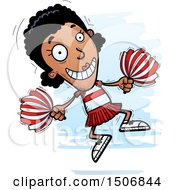 Clipart Of A Jumping Black Female Cheeleader Royalty Free Vector Illustration