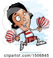 Clipart Of A Running Black Female Cheeleader Royalty Free Vector Illustration