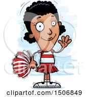 Clipart Of A Waving Black Female Cheeleader Royalty Free Vector Illustration by Cory Thoman