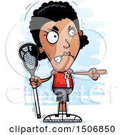 Clipart Of A Mad Pointing Black Female Lacrosse Player Royalty Free Vector Illustration