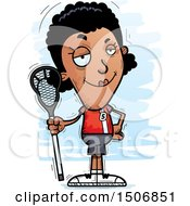 Clipart Of A Confident Black Female Lacrosse Player Royalty Free Vector Illustration