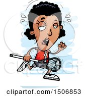 Clipart Of A Tired Black Female Lacrosse Player Royalty Free Vector Illustration