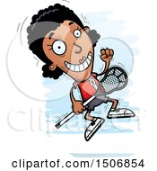 Clipart Of A Jumping Black Female Lacrosse Player Royalty Free Vector Illustration by Cory Thoman