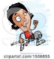 Clipart Of A Running Black Female Lacrosse Player Royalty Free Vector Illustration