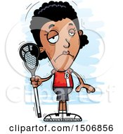 Clipart Of A Sad Black Female Lacrosse Player Royalty Free Vector Illustration by Cory Thoman