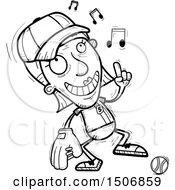 Clipart Of A Happy Dancing Senior Female Baseball Player Royalty Free Vector Illustration