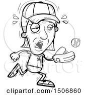 Clipart Of A Tired Senior Female Baseball Player Royalty Free Vector Illustration