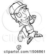 Clipart Of A Jumping Senior Female Baseball Player Royalty Free Vector Illustration