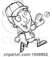 Clipart Of A Running Senior Female Baseball Player Royalty Free Vector Illustration