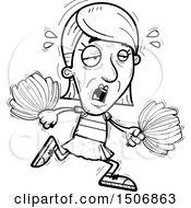 Clipart Of A Tired Senior Female Cheerleader Royalty Free Vector Illustration