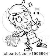 Clipart Of A Happy Dancing Senior Female Cheerleader Royalty Free Vector Illustration