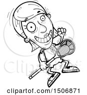 Clipart Of A Jumping Senior Female Lacrosse Player Royalty Free Vector Illustration