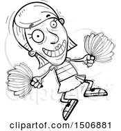 Clipart Of A Jumping Senior Female Cheerleader Royalty Free Vector Illustration