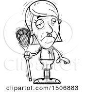 Clipart Of A Sad Senior Female Lacrosse Player Royalty Free Vector Illustration