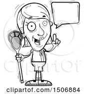 Clipart Of A Talking Senior Female Lacrosse Player Royalty Free Vector Illustration