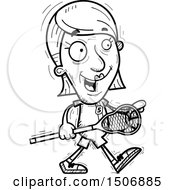 Clipart Of A Walking Senior Female Lacrosse Player Royalty Free Vector Illustration