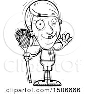 Clipart Of A Waving Senior Female Lacrosse Player Royalty Free Vector Illustration