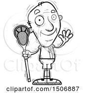 Black And White Waving Senior Male Lacrosse Player