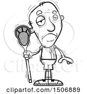 Black And White Sad Senior Male Lacrosse Player