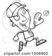 Poster, Art Print Of Black And White Running Senior Male Baseball Player