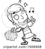 Clipart Of A Black And White Happy Dancing Female Cheerleader Royalty Free Vector Illustration