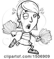 Clipart Of A Black And White Tired Female Cheerleader Royalty Free Vector Illustration