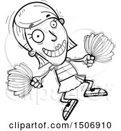 Clipart Of A Black And White Jumping Female Cheerleader Royalty Free Vector Illustration