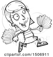 Clipart Of A Black And White Running Female Cheerleader Royalty Free Vector Illustration