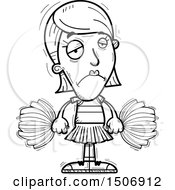 Clipart Of A Black And White Sad Female Cheerleader Royalty Free Vector Illustration