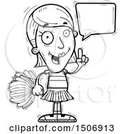 Clipart Of A Black And White Talking Female Cheerleader Royalty Free Vector Illustration