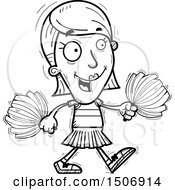 Clipart Of A Black And White Walking Female Cheerleader Royalty Free Vector Illustration