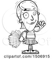 Clipart Of A Black And White Waving Female Cheerleader Royalty Free Vector Illustration