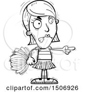 Clipart Of A Black And White Mad Pointing Female Cheerleader Royalty Free Vector Illustration