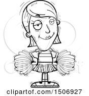 Clipart Of A Black And White Confident Female Cheerleader Royalty Free Vector Illustration