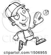 Poster, Art Print Of Black And White Running Male Baseball Player