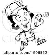 Poster, Art Print Of Black And White Running Black Female Baseball Player