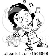 Clipart Of A Black And White Happy Dancing Black Female Cheeleader Royalty Free Vector Illustration