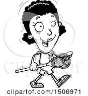 Poster, Art Print Of Black And White Walking Black Female Lacrosse Player