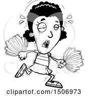 Clipart Of A Black And White Tired Black Female Cheeleader Royalty Free Vector Illustration