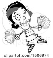 Clipart Of A Black And White Jumping Black Female Cheeleader Royalty Free Vector Illustration
