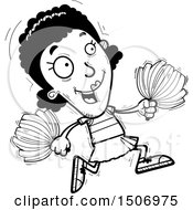 Clipart Of A Black And White Running Black Female Cheeleader Royalty Free Vector Illustration