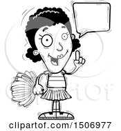 Clipart Of A Black And White Talking Black Female Cheeleader Royalty Free Vector Illustration