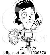 Black And White Waving Black Female Cheeleader