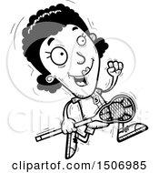Poster, Art Print Of Black And White Running Black Female Lacrosse Player