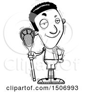 Black And White Confident Black Male Lacrosse Player