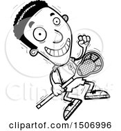 Black And White Jumping Black Male Lacrosse Player